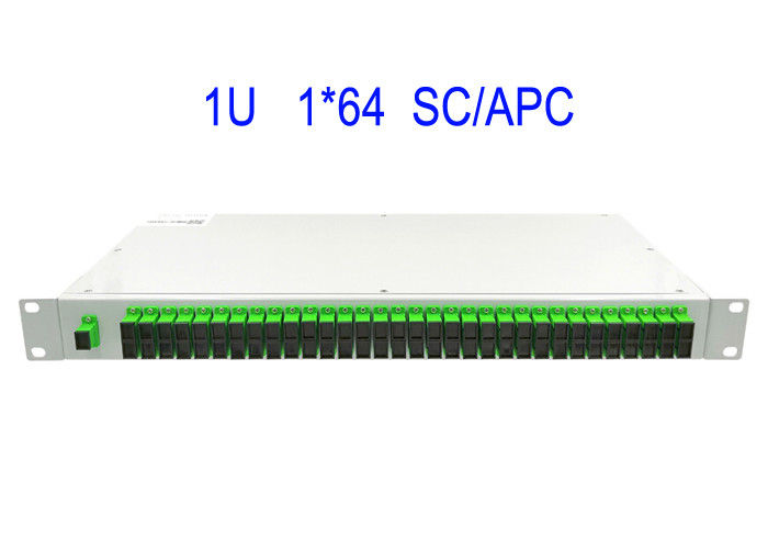 1U Rack Mount 1 × 64 SM Fiber Optic PLC Splitter SC/APC Box 19 Inches white